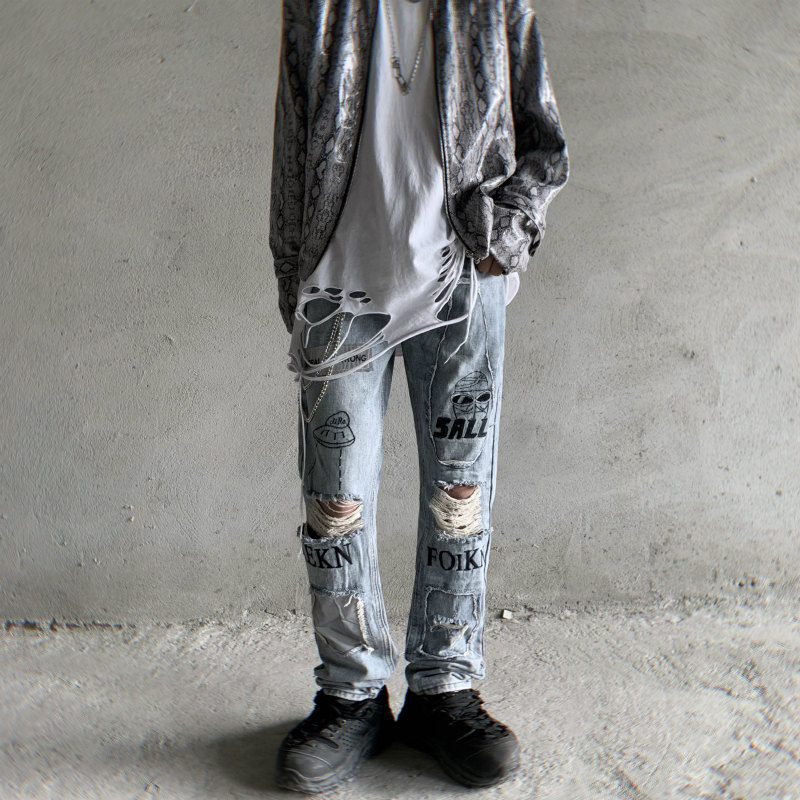 Destroy Wash Hole Jeans With A Knee Hole Men Skinny Letters Embroidery Denim Pants Mens Light Blue Slim Boot-cut Biker Jean