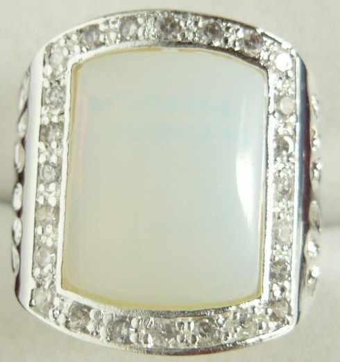 ขายส่งแฟชั่นผู้ชายเงินชุบแหวนหยกสีขาว (#9.10.11) 5.29