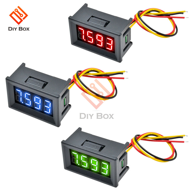 Mini 0.36 Inch Digital LED Display 4 Bits DC 0V-100V Voltmeter Meter Tester Three Wires Voltage Meter Panel Tester With Shell