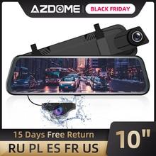 """Azdom 10 """"مرآة اندفاعة كام للسيارات مع شاشة تعمل باللمس الكامل ، كاميرا احتياطية مقاوم للماء كاميرا مرآة الرؤية الخلفية ، للرؤية الليلية"""
