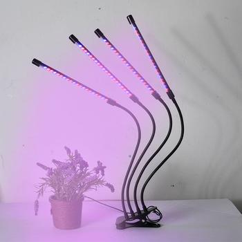36w USB LED Plant Growth Light Four Heads Flower Grow Tube With Clip Dimming Timing Desktop Lamp 360 Adjustment