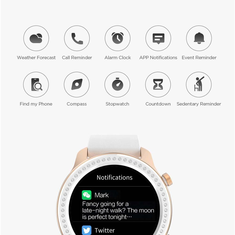 PromoteπAmazfit Music-Control Glitter-Edition Smart-Watch 12-Days-Battery 42mm Android Ios-Phone