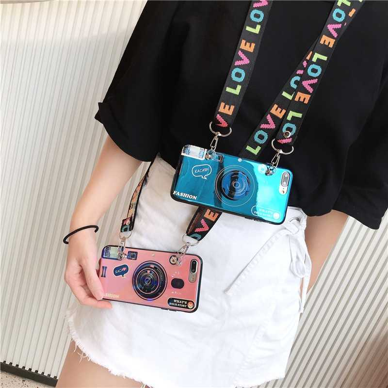 Blu-ray camera Pattern Phone Case For iPhone 11 Pro Max 6 7 8 Plus XR XS Max For Samsung S8 9 Plus Note8 with Lanyard and Bracke
