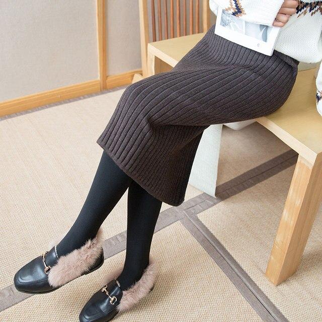 2020 spring and fall Women Long Skirt Elastic Waist Warm Knitted Straight Slim Elegant Black Pencil Skirts faldas jupe femme 4