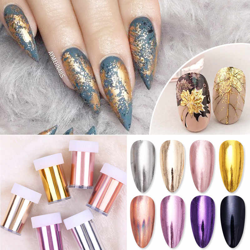 1 Roll Rose Gold Nail Folies Roze Champagne Nail Art Transfer Stickers Spiegel Metallic Diy Afbeelding Nail Papier Stickers