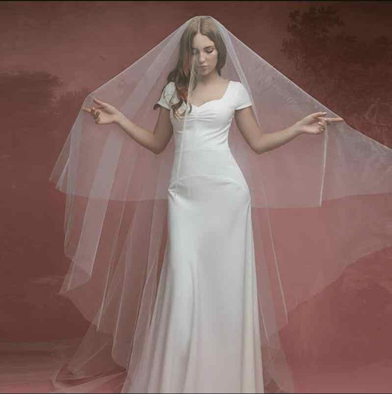 Fildişi düğün peçe tül uzun gelin peçe tek katmanlı gelin partisi Veils 3 Metre gelin peçe parti hediyeler düğün aksesuarları