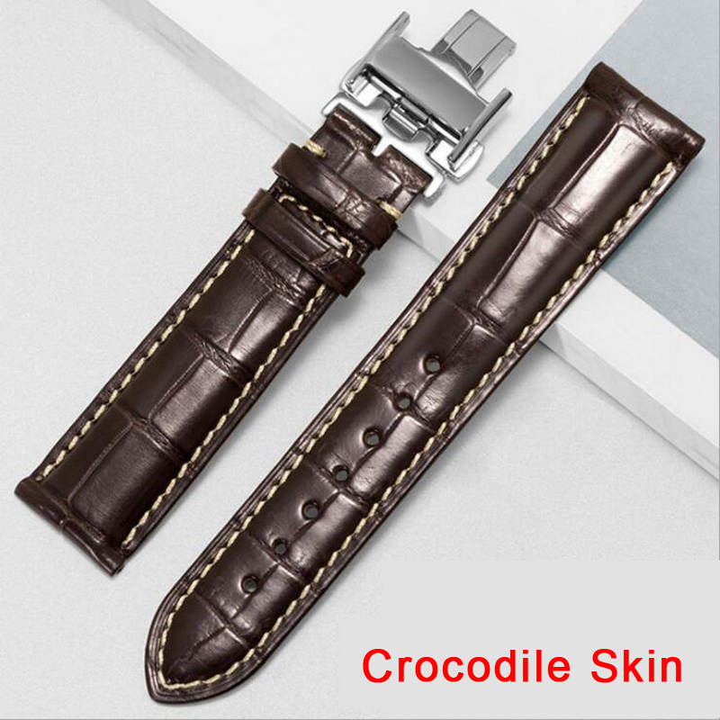 100% Genuine Alligator American Crocodile Skin Watch Strap Leather Watch Band For   Longines 14 16 18mm 20mm