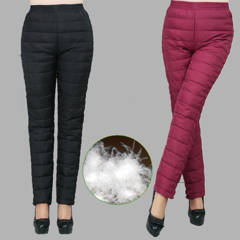New Women Pants Trousers Winter High Waist Outer Wear Female Casual Straight Warm Thick 90% Duck Down Pants Cold-proof Trousers