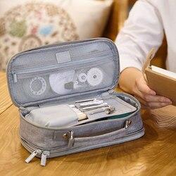 Estuche de tela para lápices de doble capa de gran capacidad Kawai útiles escolares para niños maquillaje bolsa pluma caja bolso de estudiante papelería regalo