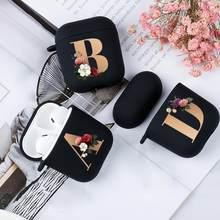 Boîte d'écouteurs Bluetooth sans fil AirPods 1/2 en Silicone noir, mignon, Floral, or, lettre initiale de l'alphabet, étui mat, coque souple