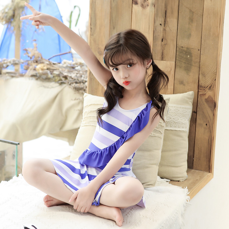 South Korea New Style Girls Cute Lace-up All Dress-Bathing Suit