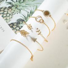 цена на Vintage Gold Geometric Crystal Alloy Bracelet Set for Women Arrow Leaves Silver Heart Cuff Bracelet Bangles Bohemian Bracelet