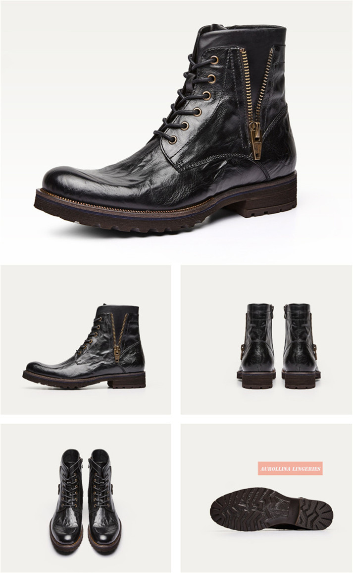 Cowskin Shoes Handmade Men Boots Fashion Shoes Classic Wild Stylish Unquie Boots (12)