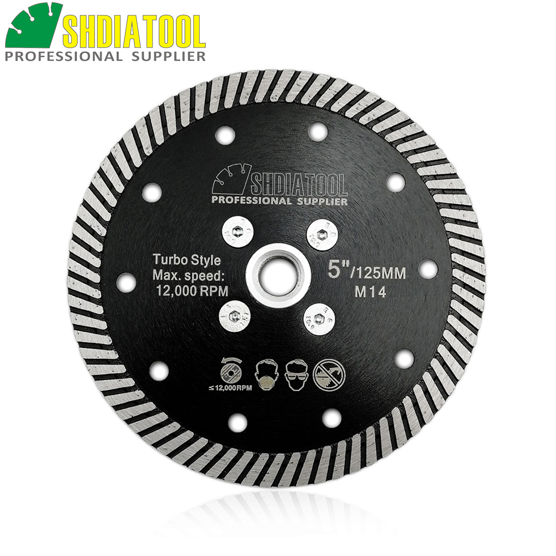 SHDIATOOL M14 Flange Dia 125mm/5inch Diamond Hot Pressed Narrow Turbo Blade Cutting Disc For Granite Marble Concrete Masonry