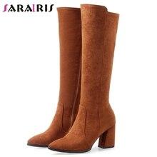 SARAIRIS New Plus Size 32-47 Pointed Toe Knee High Boots Women 2019 Winter Add Fur Knight Ladies Heels Shose Woman