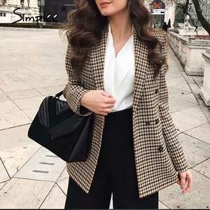 Image 3 - Simplee Moda doppio petto plaid giacca Femminile a maniche lunghe ufficio delle signore giacca sportiva 2018 Autunno delle donne del rivestimento della tuta sportiva cappotti