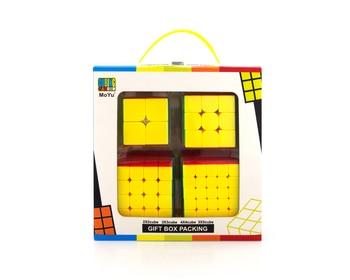 4pcs/Set Moyu 2x2 3x3 4x4 5x5 Magic Cube Set Mofang Jiaoshi Black Stickerless Pack Puzzle Speed Cube Educational Toy Gift Box 1