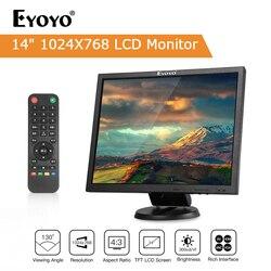 EYOYO 14 Pantalla LCD TFT de 1024x768 cámaras de TV ordenador pantalla LCD para seguridad PC con BNC HDMI VGA AV de entrada Raspberry PI Monitor