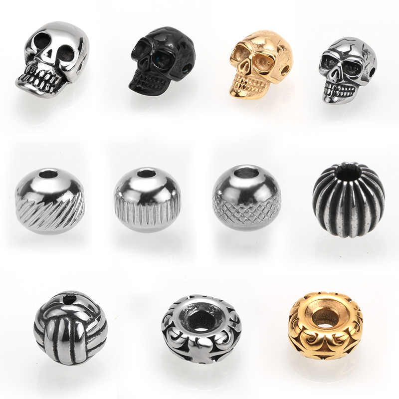 Mcllroy beads for jewelry making Stainless steel skull beads Charm Beads Bracelet for DIY Jewelry Making Transport bead pendant
