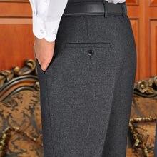 Pantalones con sobrepeso para hombre, ropa de negocios, Largo, a cuadros, color negro
