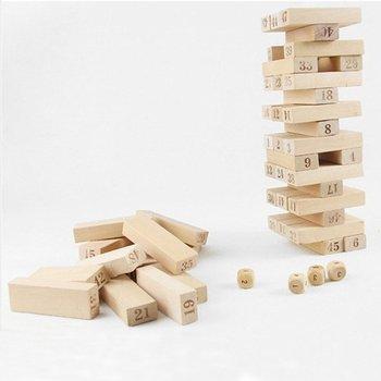 54 sztuk liczba Toppling Timbers drewniane bloczki gra bloki do układania w stosy wieża do układania zabawa trawnik zewnętrzny Yard gra edukacja zabawka tanie i dobre opinie CN (pochodzenie) none Drewna 2-4 lat 5-7 lat Fantasy i sci-fi MY1732900 5 1*1 7*1cm Dice diameter 1 2cm 1 x Wooden block stacking tower