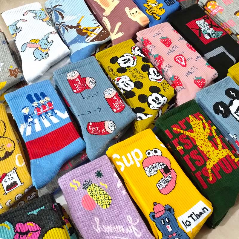 Tide Brand Personality European And American Hip Hop Crew Happy Street Socks Harajuku Men And Women Socks Fun Skateboard Chausse