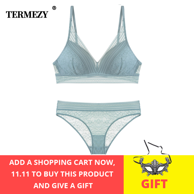 TERMEZY New Pink Underwear Fashion Sexy Lace Lingerie Push-Up Brassiere Gather Sexy Bra Set Embroidery Jacquard Lingerie Set