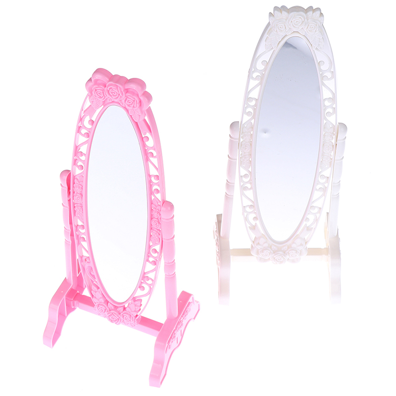 1Pc Pink White Doll Make Up Mirror Rose Fashion Doll Mirror Mini Play Rotatable Party Furniture For Doll DIY Accessories