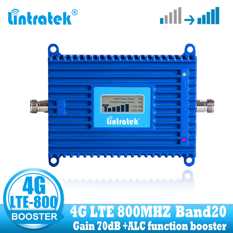Lintratek LTE 800 Mhz Cell Phone Signal Amplifier 4G 800mhz Cellular Signal Repeater Booster Band 20 4g Internet Network