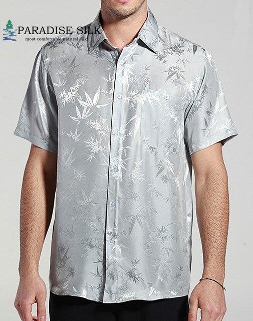 Camisa de manga curta para homens, camisa de bambu jacquard charmeuse, camisas de negócios de seda pura, manga curta, tamanho g, gg, ggg, ggg, 100%