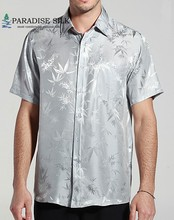 Mens Short Sleeves Shirt Bamboo Jacquard Charmeuse 100% Pure Silk Business Shirts Short Sleeve Size L XL XXL XXXL