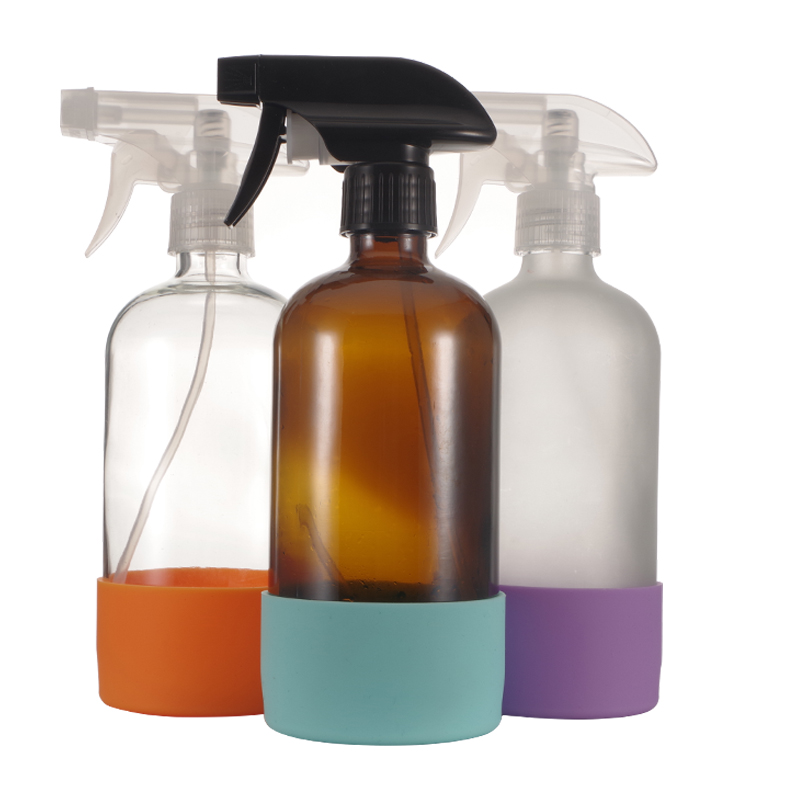 2 Pack Reusable Empty 500ml Amber Clear Glass Spray Bottle Silicone Sleeve 16 OZ Refillable Container With Black Trigger Sprayer-0
