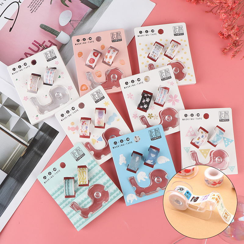 Transparent Masking Tape Dispenser Cutter Holder Japanese Stationery DIY Washi Tape Storage Organizer Cutter Supplies +2pcs Tape