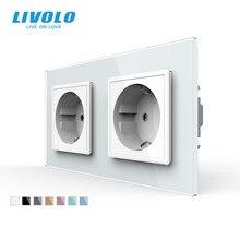 Livolo האיחוד האירופי תקן חשמל בקיר שקע, 4 צבעים קריסטל זכוכית פנל, יצרן של 16A קיר לשקע, c7C2EU 11/12/13/15