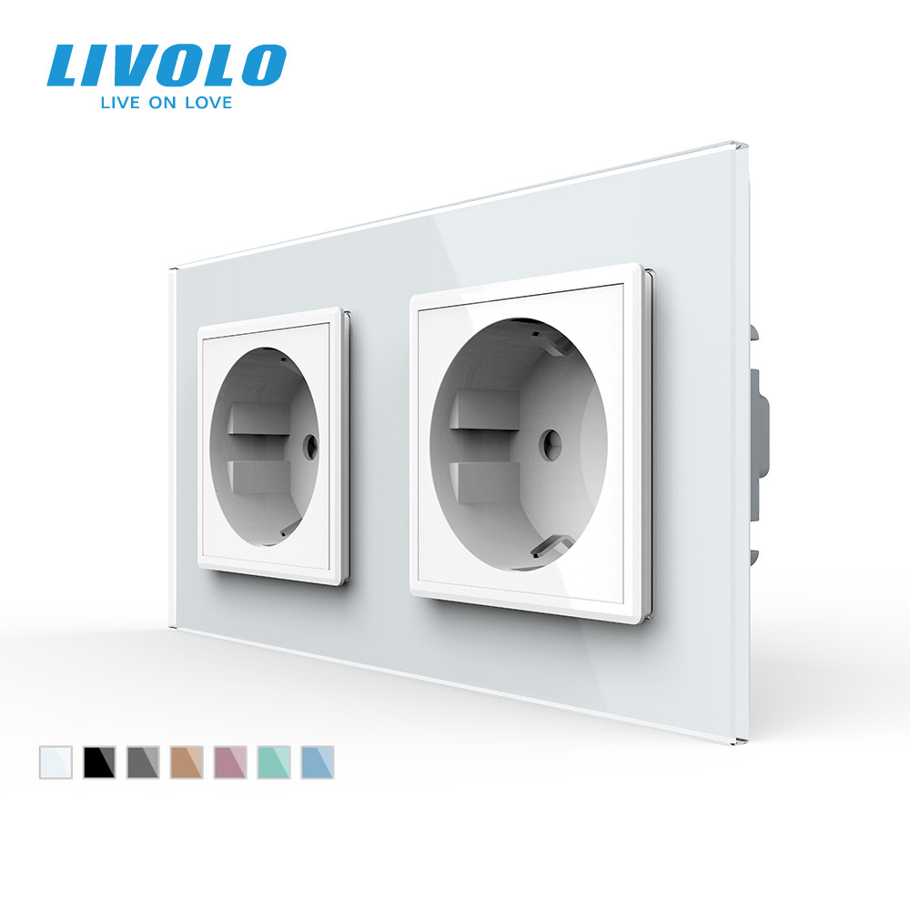 Livolo EU Standard Wall Power Socket 4colors Crystal Glass Panel Manufacturer of 16A Wall Outlet C7C2EU-11 12 13 15