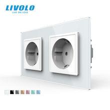 Livolo — Double prise de courant murale standard UE, panneau en verre, AC ~ 250 V, 16 A, sans logo, 4 couleurs, existe en blanc, noir, gris ou doré, C7C2EU-11/12/13/15