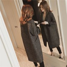 Autumn and winter woolen coat female long section Korean version 2019 new loose popular tartan womens