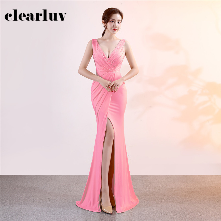 US $1111.1111 1111% OFFAbendkleider Lang Peach Pink Plus Size Pleat Prom Gown  DX1111 11 Sexy Split Formal Party Gowns Sleeveless Mermaid Evening