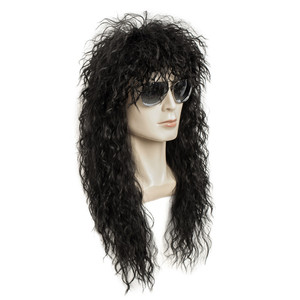 Image 5 - Gres Wig Black Long Curly Wig Male Synthetic Cosplay Wigs Puffy High Temperature Fiber for Men