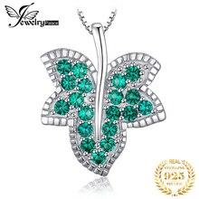 Jдворца лист имитация нано изумрудное ожерелье с подвеской 925 стерлингового серебра драгоценный камень колье заявление ожерелье