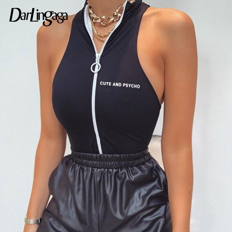 Darlingaga Streetwear Zipper Skinny Tank Bodysuit Women High Neck Body Suit Letter Print Bodycon Jumpsuit 2020 Summer Bodysuits