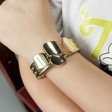 Punk Shiny Surface Alloy Cuff Bangles Bracelets For Women Fashion Jewelry Statement Big Alloy Bangle Wholesale