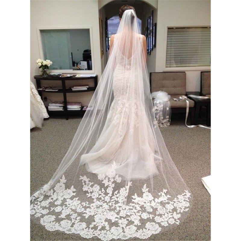 3M One-Layer Women Ultra-Long Trailing Wedding Veil Romantic Embroidered Floral Lace Appliques Patchwork Cathedral Bridal Veil