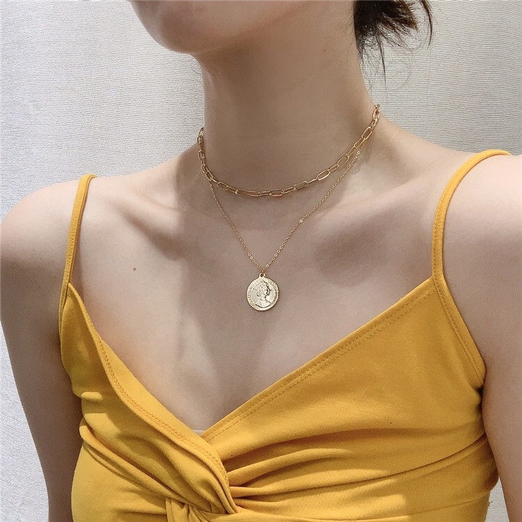 Gold Silver Color Coin Pendant Necklace for Women Clavicle Chain Choker Necklaces Female 2020 Fashion Jewelry Simple New