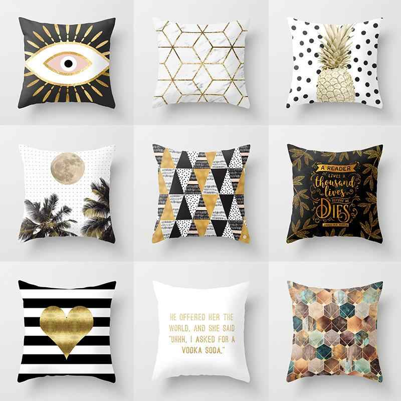 Black Golden Geometric Cushion Cover Peach Skin Pineapple Sofa Modern Decorative Pillowcases Office Living Room Home Decor 45x45
