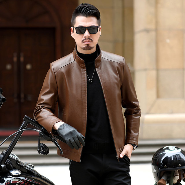 Fall 2021 New Suit Leather Jacket Business Fashion Men's Jacket Men's Slim Fit Leather leather jacket Leather suit for men 5