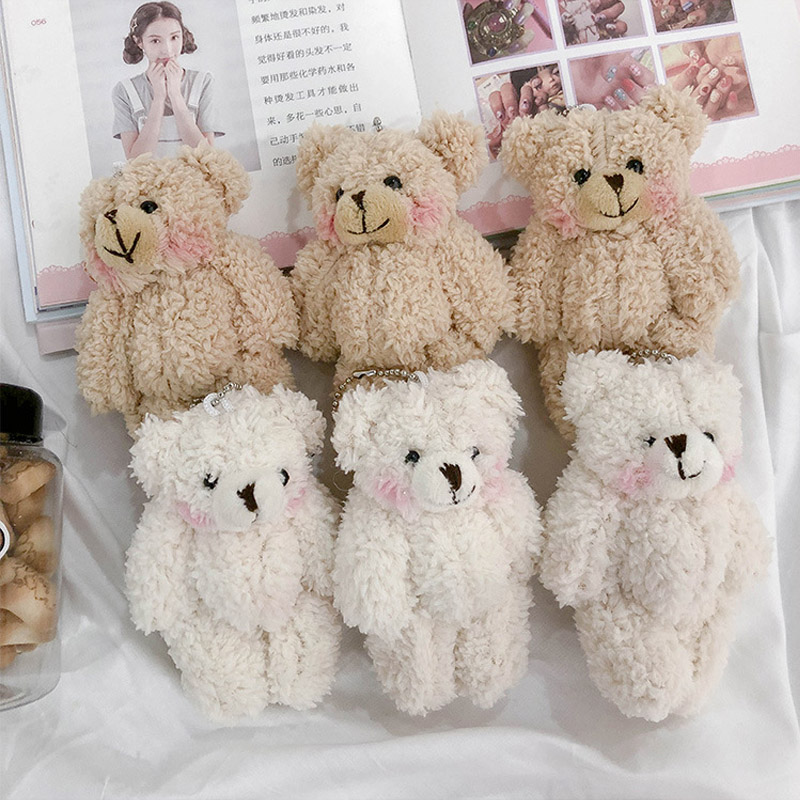 1 Pcs 11.5cm Floral Cloth Teddy Bear Rabbit Bunny Dolls Key Bag Pendants Couple Bear Rabbit Plush Keychain Lovers Friends Gift