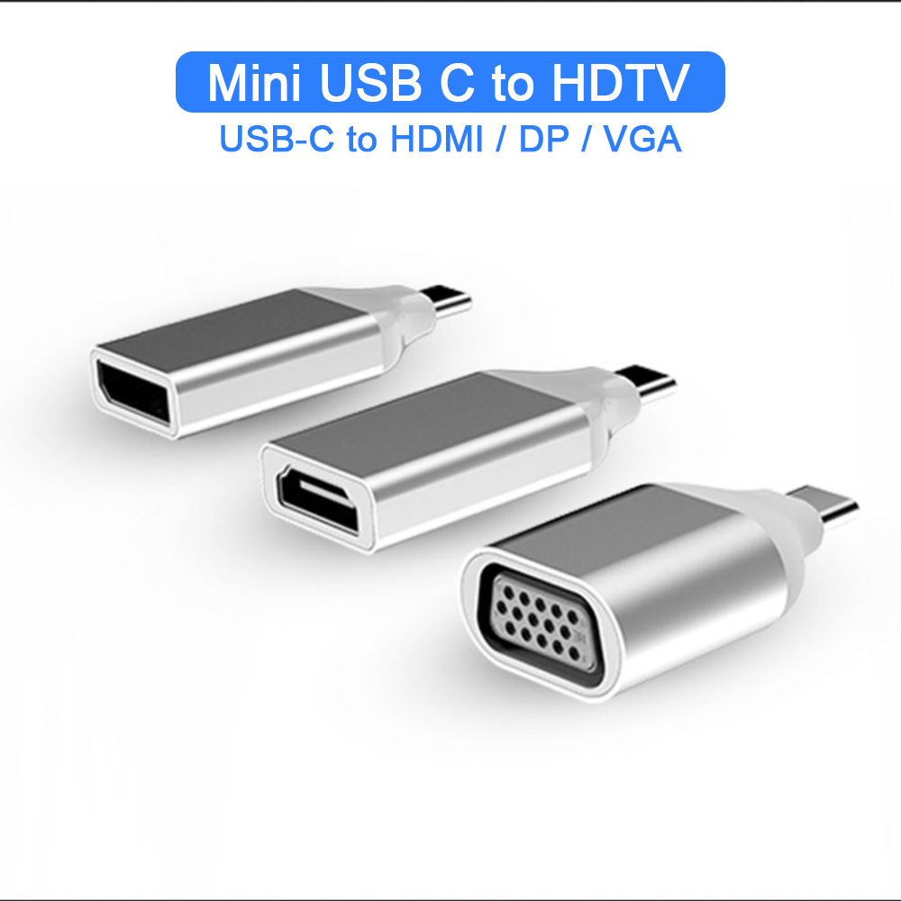 Mini USB Type C To HDMI/DP/VGA 4K Adaptor Converter Aluminum Shell Super Portable