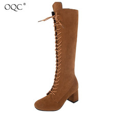 Купить с кэшбэком OQC New Women Knee High Boots Rome Style Sexy Lace Up Wild Chunky Heel Boot Autumn Winter Warm Vintage Suede Cross Tied Boot D25