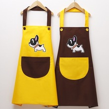 Female male chef with 1 pocket cooking apron waterproof and oil-proof bib, black, red, adult dress, cute dog